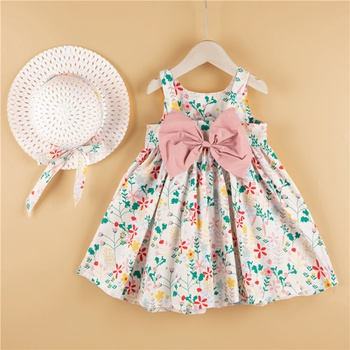 2-piece Baby / Toddler Girl Pretty Floral Print Bowknot Dress and Hat Set