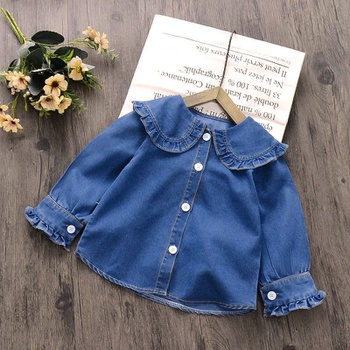 Baby / Toddler Girl Doll Collar Ruffled Denim Jacket