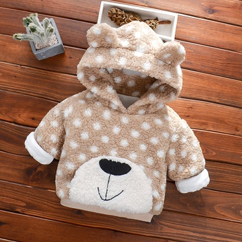 Baby / Toddler Boy Animal Raccoon Pattern Fluff Hooded Jacket