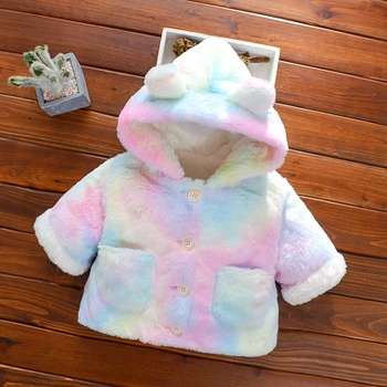 Baby / Toddler Colorful Tie-dye Pocket Fluff Hooded Coat