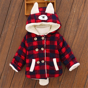 Baby Unisex casual Plaid Coat & Jacket Hooded Autumn Winter Jacket Warm Outerwear Children jacket Clothes