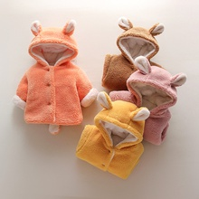 Baby / Toddler Ear Decor Fluffy Solid Hooded Coat