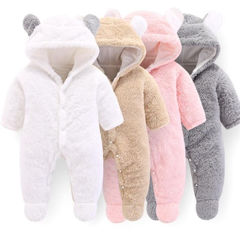 Baby 3D Bear Design Winter Fleece Hooded Jumpsuit