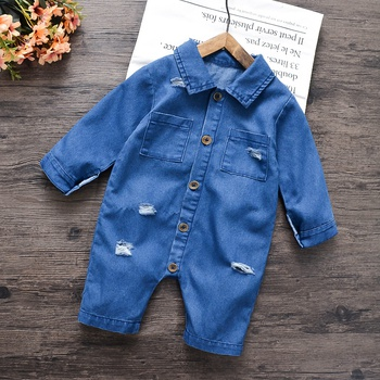 Baby Ripped Denim Jumpsuit