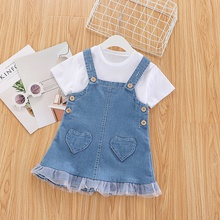 2-piece Baby / Toddler Solid Tee and Denim Strap-Skirt Set