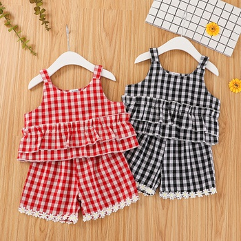 2-piece Baby / Toddler Casual Plaid Camisole and Shorts Set