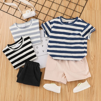 2-piece Baby / Toddler Boy Casual Striped Tee and Shorts Set
