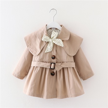 1pc Baby Girl Long-sleeve Cotton Avant-garde Coat & Jacket