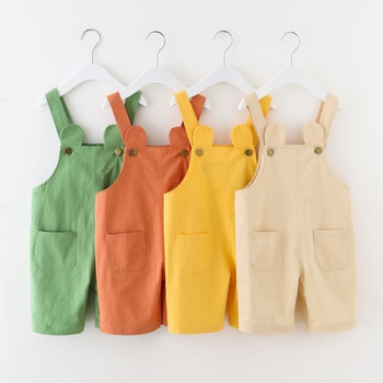 Toddler Girl Casual Solid Overalls