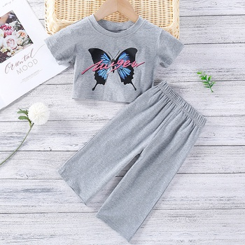 2pcs Toddler Girl Short-sleeve Cotton Butterfly Toddler's Sets