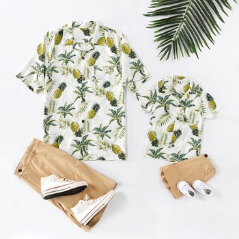 Causal Floral Print Short-sleeve T-shirts for Daddy and Me
