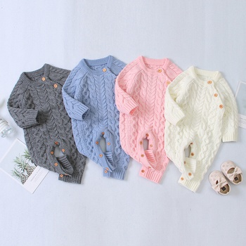 Baby Boy / Girl Solid Knitted Long-sleeve Jumpsuit