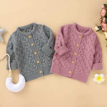 Baby Casual Solid Knitted Coat