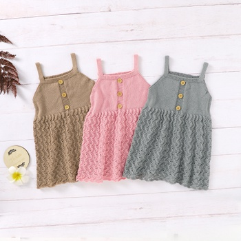 1pcs Baby Girl Sleeveless Solid Knitted Dress