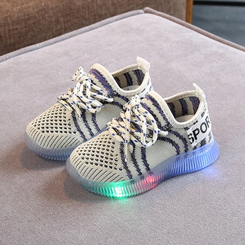 Toddler / Kids Breathable Net Surface Lace-up LED Sneakers