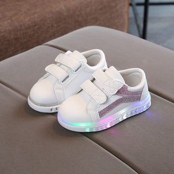Baby/ Toddler's Sequin Stripe LED Sneaker