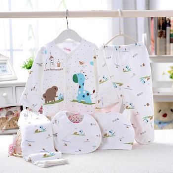 5-piece Cute Animal Pettern Top Pants Bib and Hat Set for Newborn