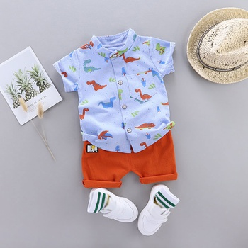 Dinosaur Print Short-sleeve Shirt and Pants Set