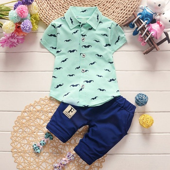 2-piece Fashionable Moustache Pattern Polo Collar Tee and Solid Shorts Set (Random Pants Tag )