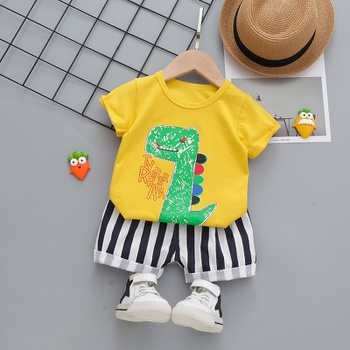 2pcs Cotton Short-sleeve Summer Baby Boy casual Animal & Dinosaur Baby's Sets