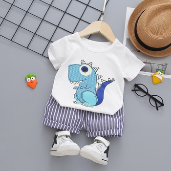 2pcs Summer Short-sleeve Cotton Baby Boy casual Animal & Dinosaur Baby's Sets