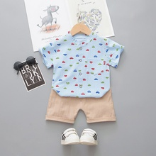 2pcs Baby Boy Short-sleeve Cotton casual Vehicle Baby's Sets