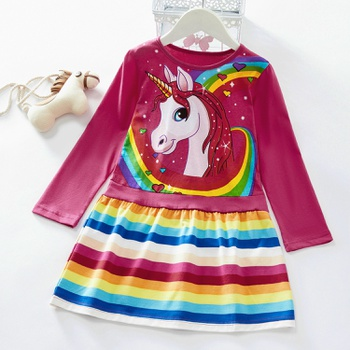 Toddler Girl Rainbow Striped Unicorn Print Long-sleeve Dress