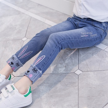 Cute Rabbit Embroidered Jeans in Blue