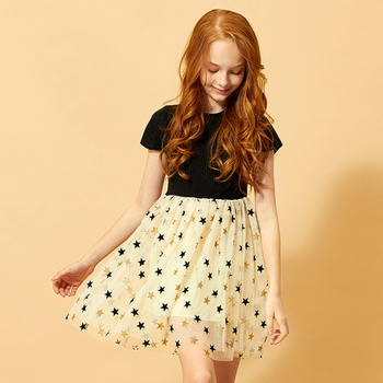 Pretty Star Applique Short-sleeve Dress