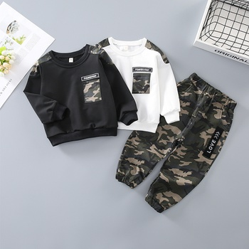 2-piece Baby / Toddler Boy Camouflage Letter Print Pullover and Casual Harem Pants Set