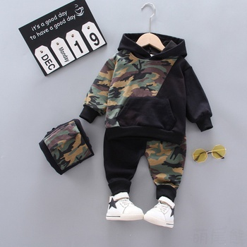 2pcs Baby Boy Long-sleeve Cotton Hooded Street style Camouflage Baby's Sets