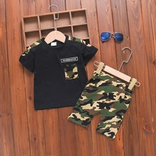 2pcs Baby Boy Short-sleeve Cotton Sports Camouflage Baby's Sets