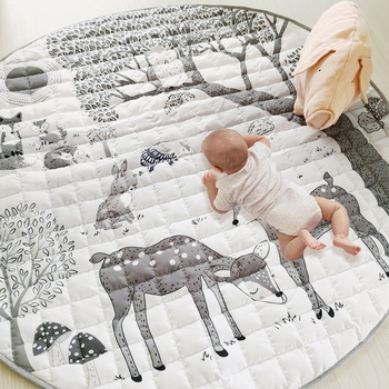 Cartoon Forest Deer Animal Baby Play Mats Newborn Infant Crawling Blanket Cotton Round Floor Carpet