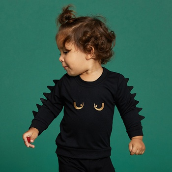 Baby / Toddler Stylish Eye Embroidery Solid Dino Decor Pullover