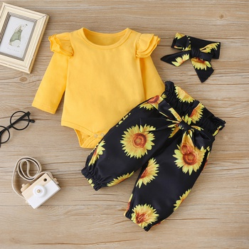 3-piece Baby / Toddler Sunflower Flutter-sleeve Bodysuit and Pants with Headband Set