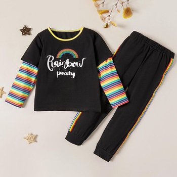 Trendy Letter Rainbow Print Striped Faux-two Tee and Pants Set