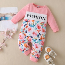 1pc Baby Girl Long-sleeve Cotton Sweet Floral Jumpsuits