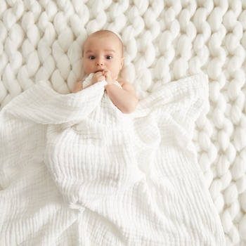 Solid Design Kintted Cotton Baby Swaddle Blanket