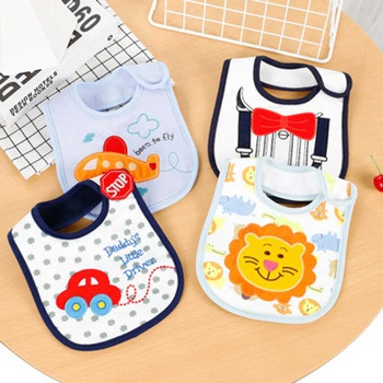 4-piece Cartoon Lion Car Animal Print Baby Bib