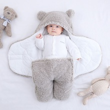 Baby Blanket Swaddle Wrap Winter Cotton Plush Hooded Sleeping Bag 0-6 Month