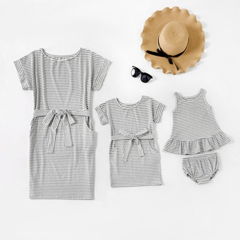 Grey and White Stripe Short-sleeve Matching Mini Dresses