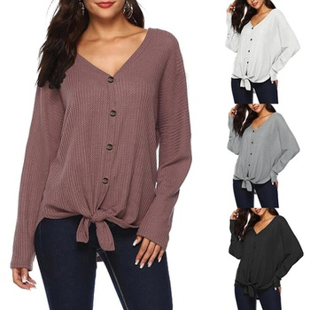 V-neck Plain long sleeve casual Cardigan