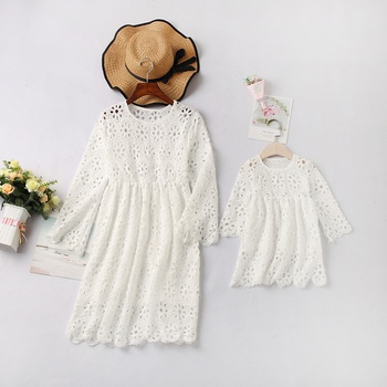 Solid White Long-sleeve Matching Lace Mini Dresses