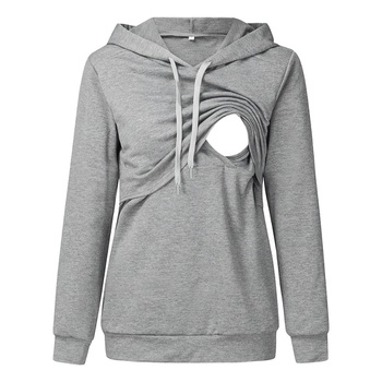 Trendy Solid Long-sleeve Nursing Hoodie