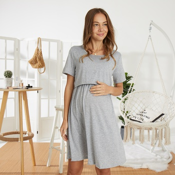Trendy Solid Short-sleeve Nursing Dress