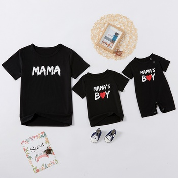 Letter Print Black Tops for Mom and Me