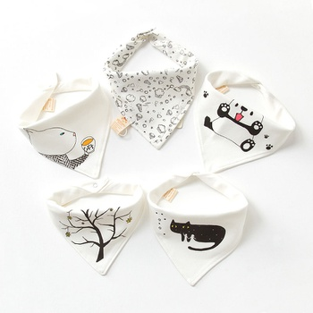 5-pack Adorable Cotton Baby Scarf Bibs Baby Eating Accessory Soft Baby Stuff