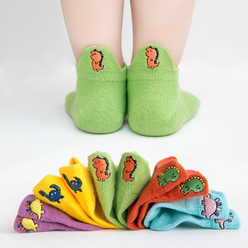 5-pack Toddler / Kid Adorable Dinosaur Embroidered Socks