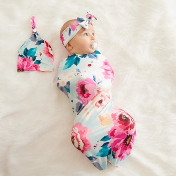 3-piece Full Floral Print Baby Blanket Swaddle Hat and Headband Set