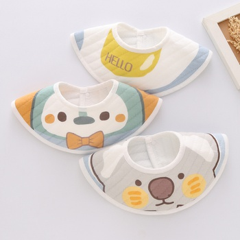 3-pcs Baby Cartoon Cute Cotton Bibs 360 Rotating Newbron Toddler Kids Gauze Burp Cloth Feeding Apron Baby Saliva Towel Scarf Bandana Bibs Baby Stuff